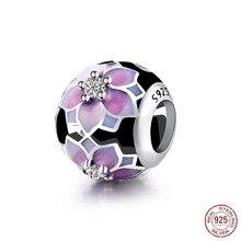 925 Sterling Silver Bead Hollow Peony Glaze Crystal Beads Fit Original Pandora Charms Bracelet & Bangle DIY Jewelry PCY062