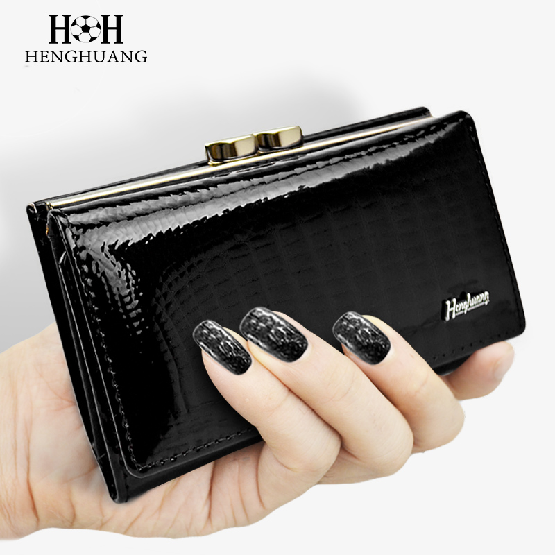 HH Women Wallet Genuine Leather High Quality Hasp Coin Purse 100% Cowhide  Fashion Female Clutch Purses Card Holder Wallets vintage genuine leather wallets men fashion cowhide wallet 2017 high quality coin purse long zipper clutch large capacity bag