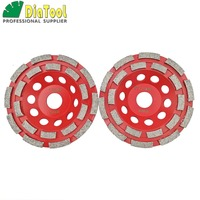 DIATOOL 2pcs Dia 125MM Professional Welded Diamond Double Row Grinding Cup Wheel For Concrete, 5 Inch Grinding Discs