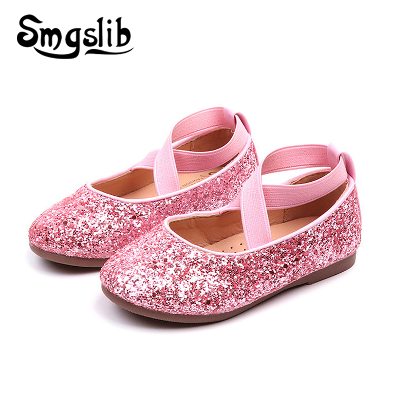 Children Shoes Girls Pu Leather Sneaker Kids Glitter Dance Shoes For Princess Party Baby Dance Birthday Wedding Casual Shoes