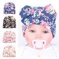 Novo Estilo de Impressão de Algodão Chapéus Beanied Com Grande Arco Para O Inverno Quente Da Criança Do Bebê Recém-nascido Outono Fresco Pequeno Floral Caps
