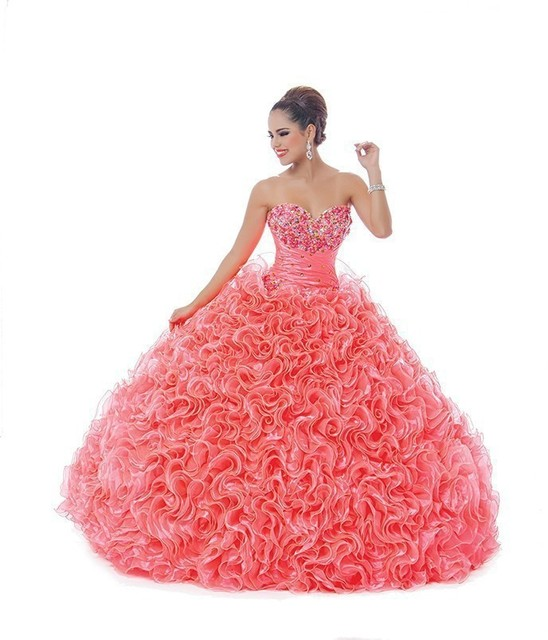 ae8a590faa8c9 New 2017 Ragazza Vestido De Debutante 15 Anos Coral Quinceanera Dress  Ruffled Organza Beads Sweet 16
