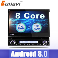 Eunavi 4G RAM 1 Din Android 8.0 Octa 8 Core Car DVD Player For Universal GPS Navigation Stereo Radio WIFI MP3 Audio USB SWC