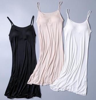50 jedwab 50 dzianina wiskozowa pełna Slip z podkładką bielizna nocna koszulka regulowany pasek SG326 tanie i dobre opinie WOMEN Poślizgnięcia Pełne zrazy SILK