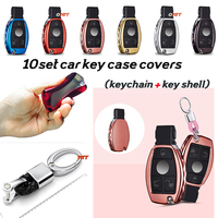 Unisex Fashion 10set Remote 3 buttons car protective cover key holder keychain car key case for Mercedes Benz 3B 3BT AMG S SLK