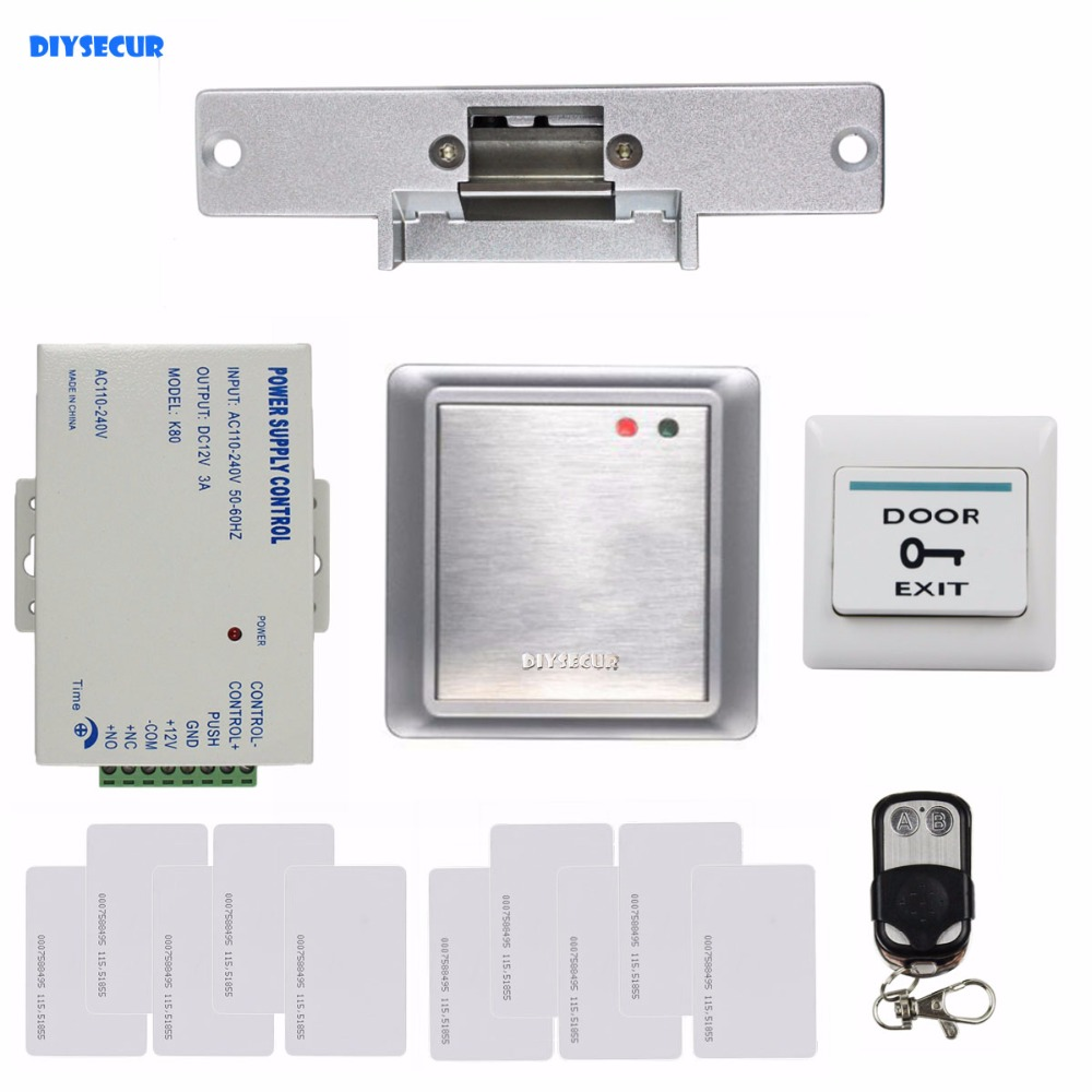 DIYSECUR Complete 125KHz RFID Keypad Access Control System + Strike Lock + Remote Controller Security Product 8168A