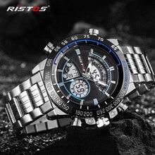 Мужские спортивные часы RISTOS из нержавеющей стали, аналоговые кварцевые наручные часы, многофункциональные часы с хронографом, мужские часы, модные мужские часы 9339