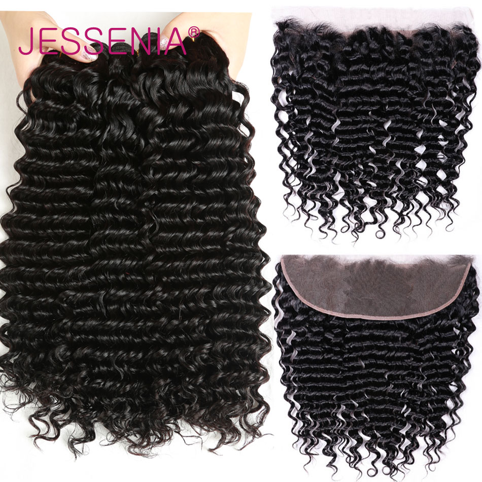 JESSENIA HAIR Curly Bundles With Frontal Malaysian Curly Hair 3 Bundles with Frontal 13*4 Remy Human Hair Bundles with Frontal ...