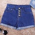 Мода Кнопки Ретро Упругой Джинсовые Шорты Женщин Новый Дизайн 2017 Летом Случайные Синие Рваные Края Короткие Пляжные Сексуальные Короткие Джинсы