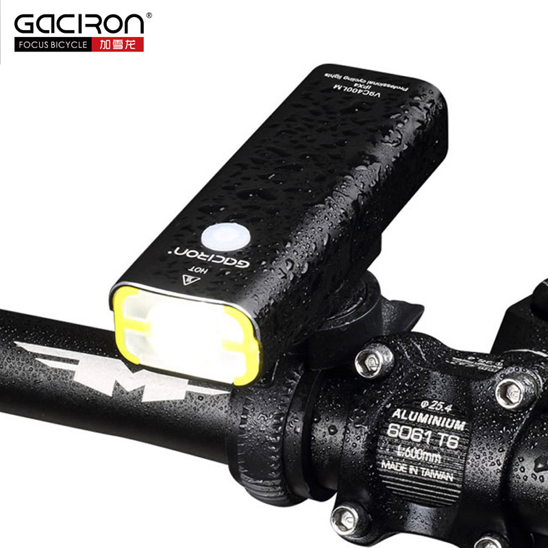 Gaciron Rechargeable Bike Front Handlebar Cycling Led Light 18650 Battery Flashlight Torch Headlight Bicycle Accessories white purple yellow light led flashlight stainless steel torch 18650 rechargeable uv torch olight jade identification
