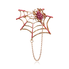 Rhinestone Black Pink Magnet Spider And Cobweb Brooch Women Men Suits Brooches Pin Size 5.4*4.6CM Halloween Decorate Accessories rhinestone faux gem halloween spider brooch
