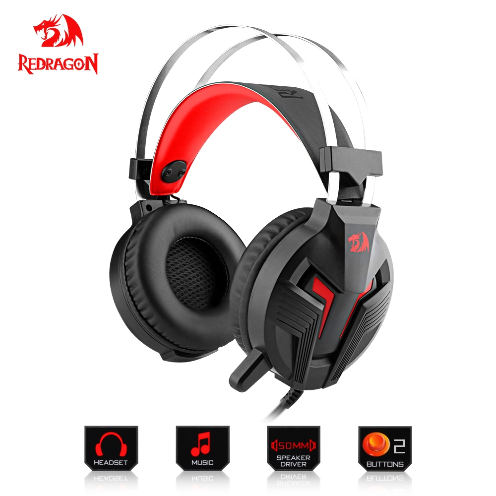 Redragon Gaming Headphones Headset Deep Bass Stereo wired gamer Breathing backlight Earphone Microphone for PC Laptop computer. soyto c830 wired gaming headset deep bass game earphone computer headphones with microphone led light headphones for computer pc