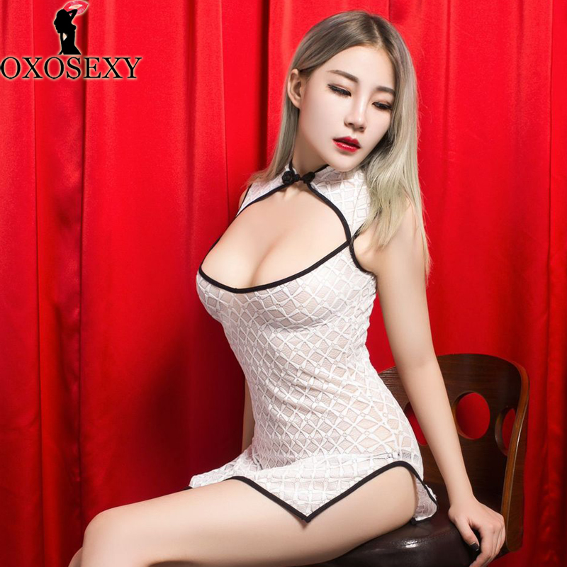 New White Black Sexy Lingerie Women Lace Cheongsam Erotic Lingerie Sexy Hot Hollow Sex Lingerie High Cut Baby Doll Sleepwear 235