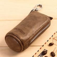 Brand Men Genuine Leather Retro Car Key Housekeeper Holders Lady Cow Leather Fashion Zipper Key Wallets