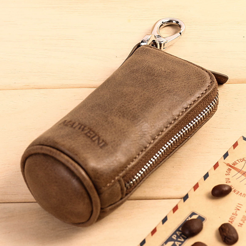Genuine leather key pocket with zipper Dark Brown DAFROH Leather Key Case 6 Small Key Positions & 1 Removable Keyring & 2 Map
