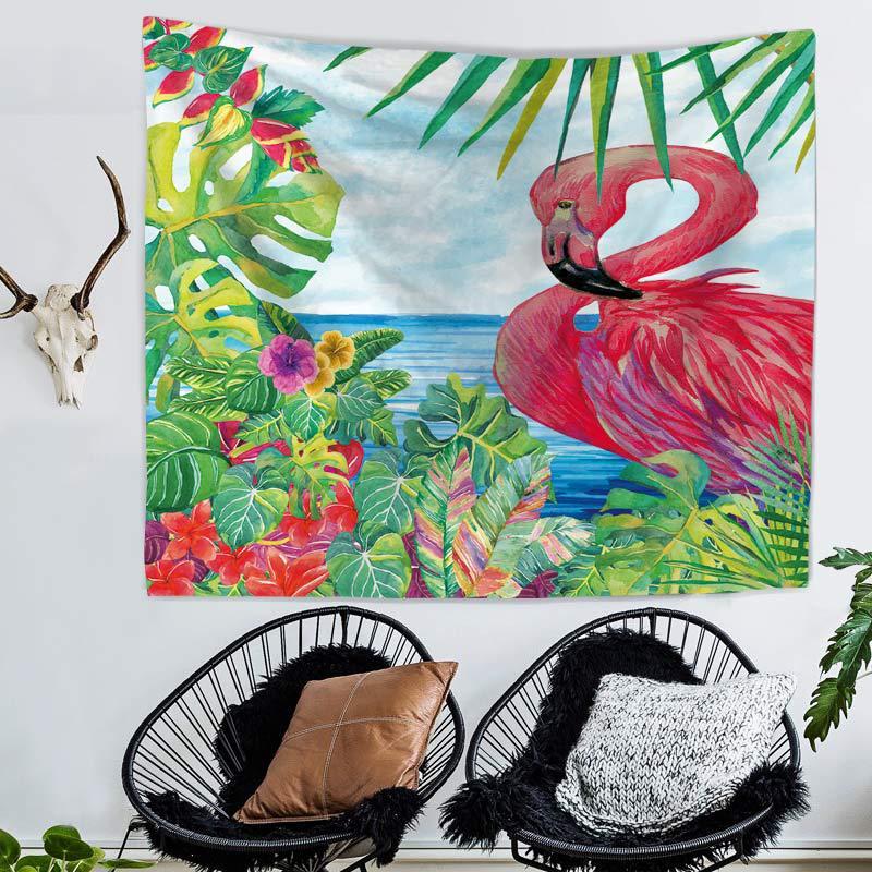 Bohemia Tropical Leaf Flamingo Pattern Wall Art Hanging Tapestry Decorative Sofa Chair Cover Fashion Beach Towel Table Cloth