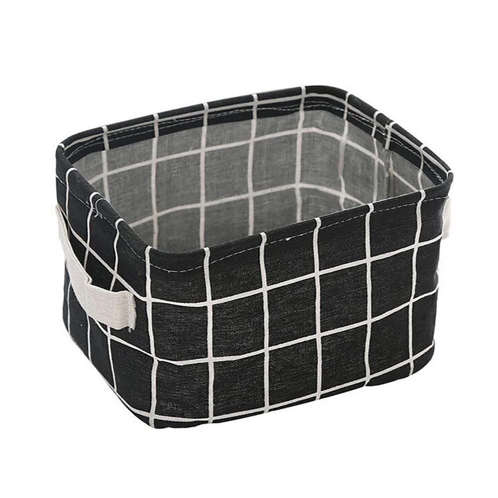 Storage Basket DIY Desktop Folding Linen Toy Storage Box Plaid Jewelry Makeup Organizer Fabric Basket a803 27