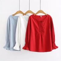 Plus size black & red & blue Jacquard blouses women 2018 casual O Neck long sleeve lace shirt Spring autumn cotton ladies tops