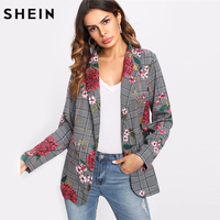 SHEIN Plaid Blazer Women Long Sleeve Womens Colored Fashion Blazer Multicolor Shawl Collar Pocket Casual Floral