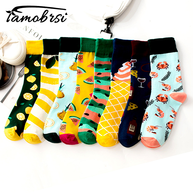 Street Fruit Pattern Watermelon Lemon Shrimp Beer Socks Short Cool Crazy Socks Women Men Cotton Happy Funny Casual Socks Famale