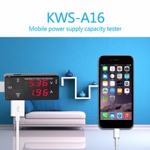 Mobile Power Test  Professional Intelligent USB2.0 Voltage Ammeter Detector Battery Capacity Tester KWS-A16 Hot Sale ebd m05 mini electronic load tester battery capacity power bank charger and mobile power test equipment 0 1 19 5v 5a 30w