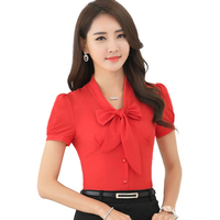 Summer New Slim Bow Puff Sleeve Candy Colors Elegant Shirt Ladies Temmperament Short Sleeve Chiffon Blouse