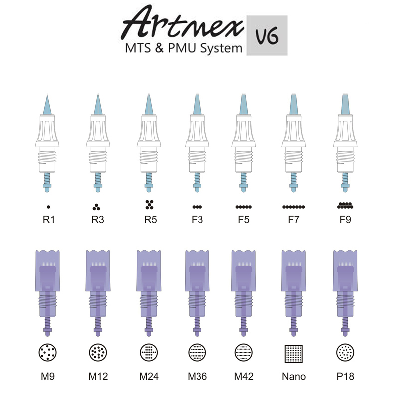 For 10pcs lot Artmex MTs eyebrow tattoo needle replacement spare parts tattoo needle cartridges in Tattoo Needles from Beauty Health