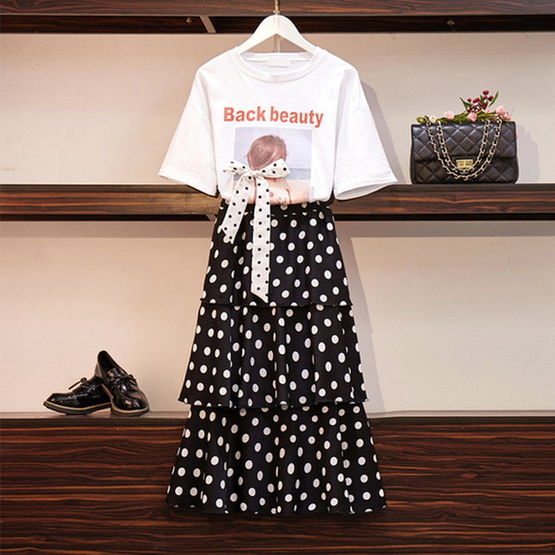 Special Design Women Summer Sets Letter Pattern Bow Tie T Shirt And Polka Dot Loose Long Ruffled Skirt Sets Sweet Girls Clothes 45