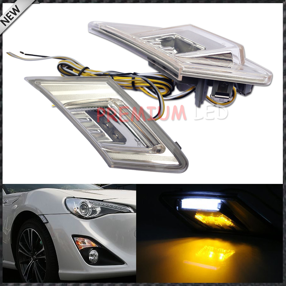ФОТО Free Shipping,one pair White/Amber 3W 6-SMD 1210 LED Clear Lens Side Marker Blinker Lights Fit 2013-up Scion FR-S Subaru BRZ