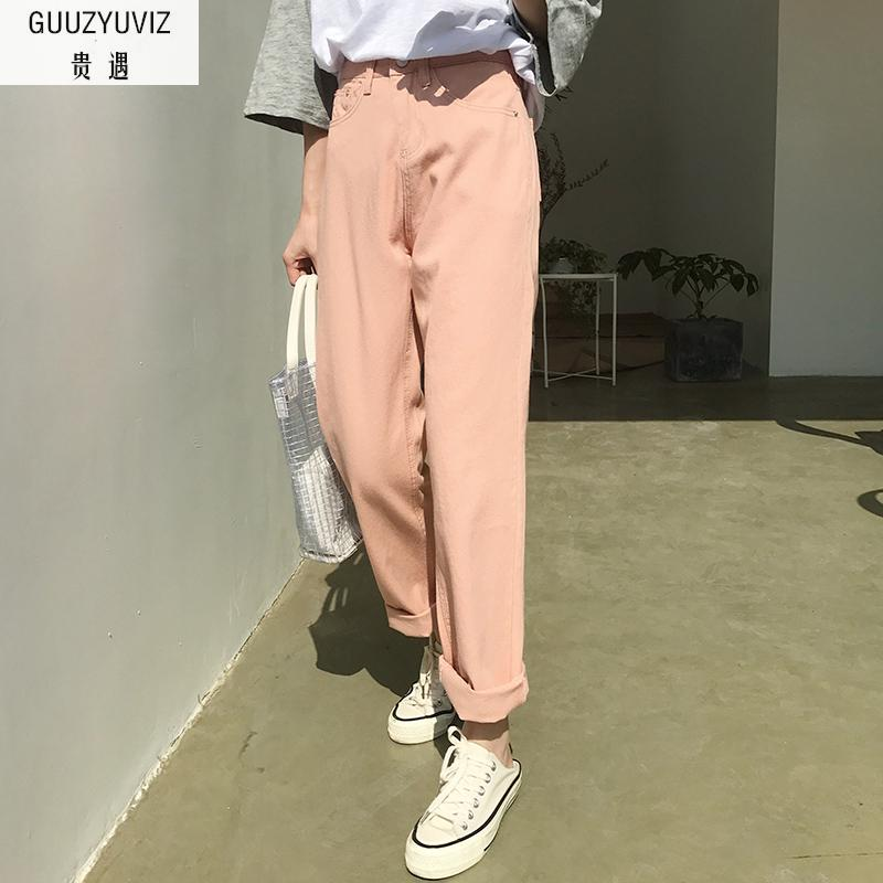 GUUZYUVIZ Black Pink Boyfriend Jeans For Women 2018 Casual Loose Vintage Wide Leg Pants Women Plus Size Chic Jeans Woman Summer