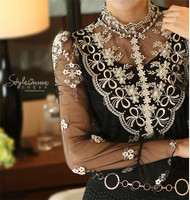 Womens Tops Fashion 2015 Summer Style Stand Collar Black Crochet Lace Blouse Long Sleeve Lace Shirt