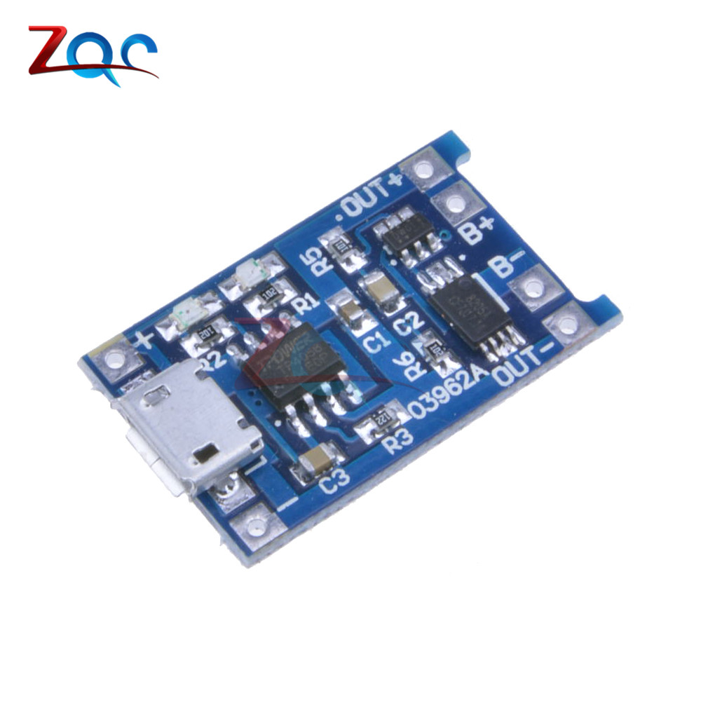 2Pcs Micro USB 5V 1A 18650 TP4056 Lithium Battery Charger Module Charging Board With Dual Functions