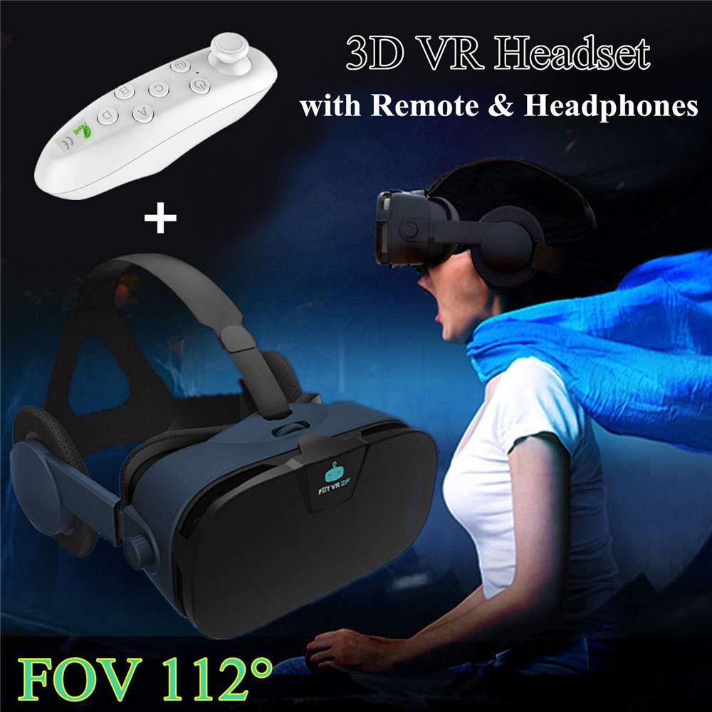 Virtual Reality Glasses Fiit VR Headset Box with Headphone Oculos 3D VR Goggle Box for Iphone  Android LG Htc Vive Samsung s9+