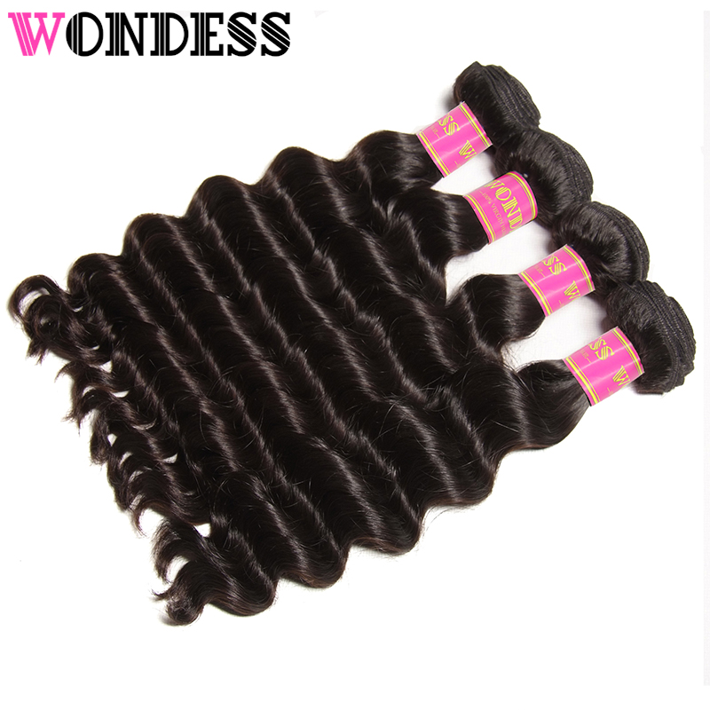 Wondess Hair 4 Bundles Virgin Brazilian Hair Natural Wave 8-26inch Wet and Wavy Human Hair Weaves Extensions Natural Color