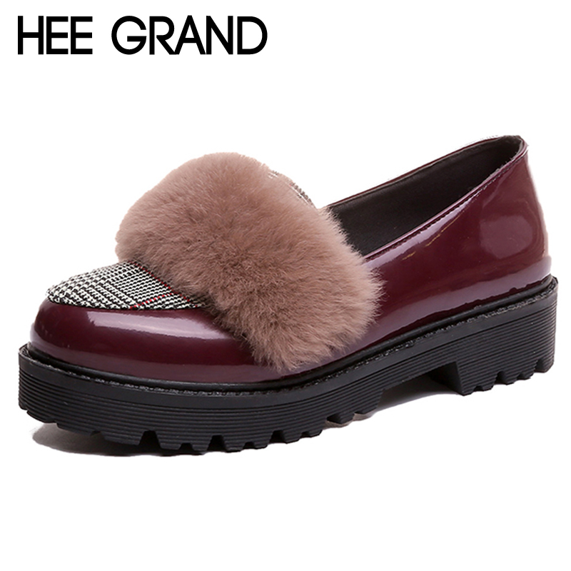 HEE GRAND Winter Brogue Platform Women Pumps With Fur Patent Leather Woman Oxfords Round Toe Slip On Loafers Women Shoes XWD6950 hee grand sweet patent leather women oxfords shoes for spring pointed toe platform low heels pumps brogue shoes woman xwd6447