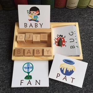 Image 5 - Montessori Learning English Cards alfabet pisownia słowa gry dla dzieci pisownia słowo klocki do budowy wczesne zabawki edukacyjne