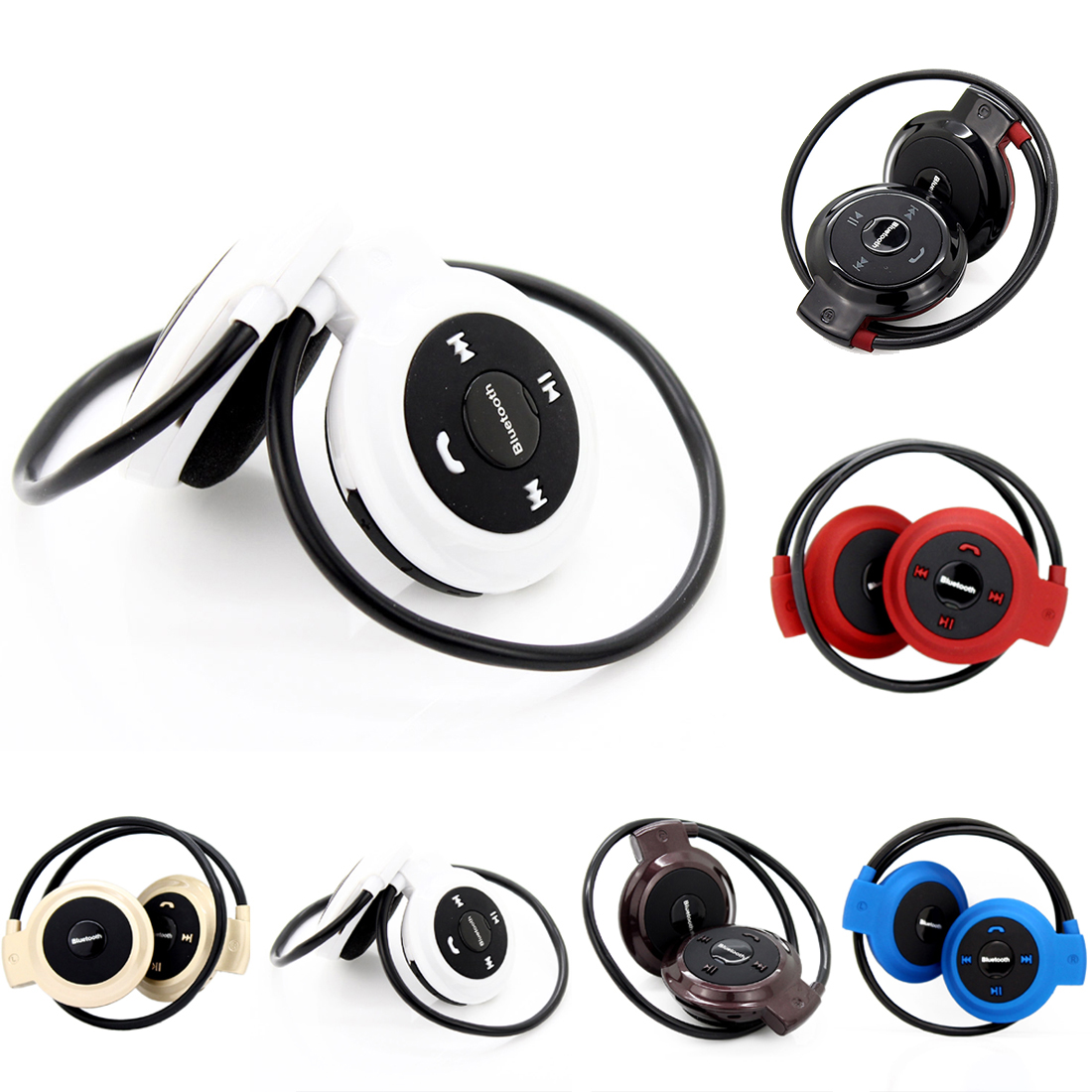 Marsnaska TF+FM+MP3 Class II mini sport wireless headphones Music Stereo Bluetooth Earphones Headsets hands-free call for iphone image