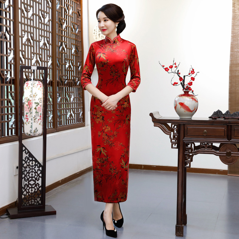2018 Fashion Long Cheongsam Chinese style Mandarin Collar Dress Womens Spring Velour Qipao Slim Party Dresses
