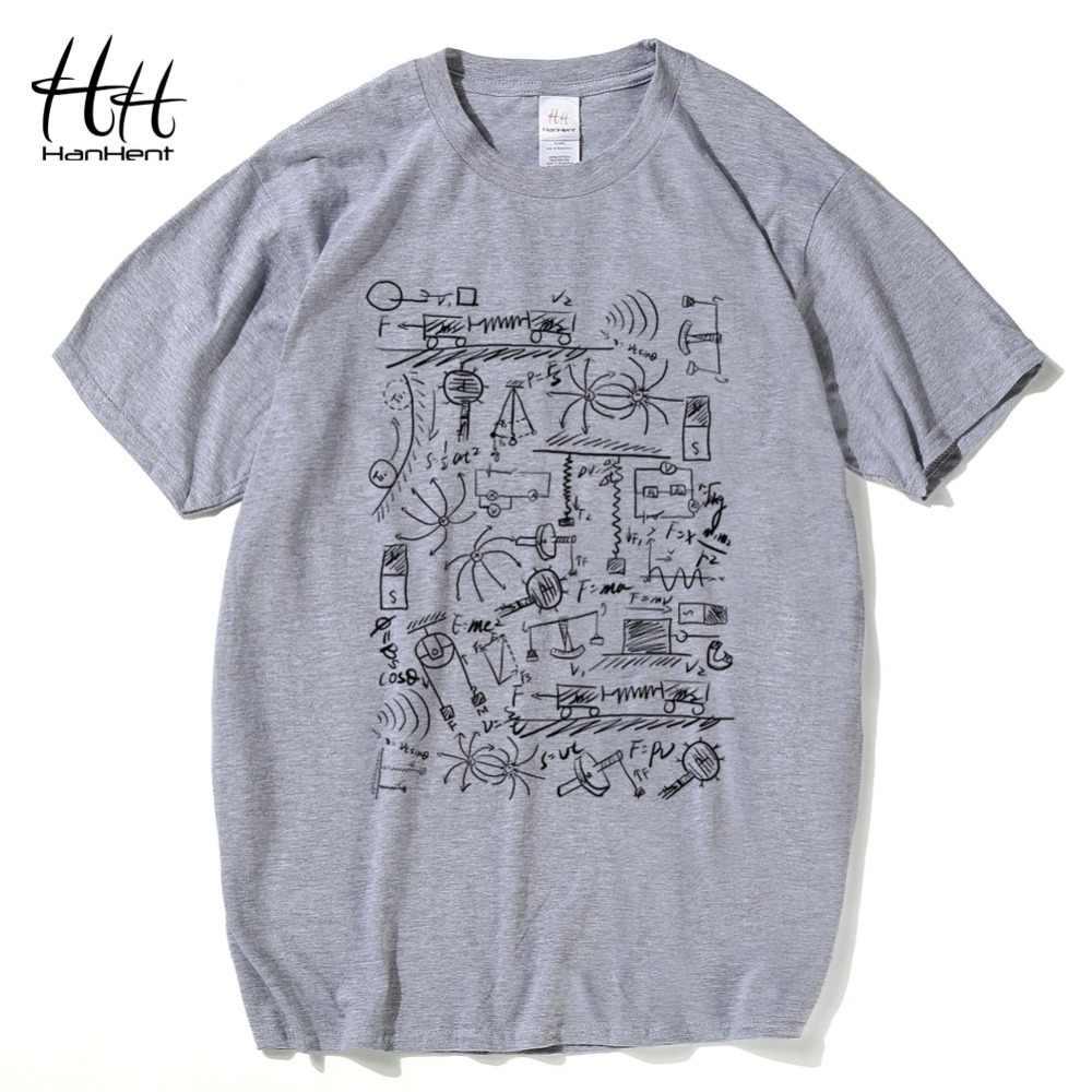 HanHent fizik t-shirt erkekler yaratıcı rahat gömlek kısa kollu Tee gömlek matematik pamuklu üst giyim Big Bang teorisi Geek T shirt