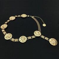 Mới thời trang sang trọng thiết kế thương hiệu thắt lưng cho phụ nữ đồng xu Vàng cá heo chân dung kim loại chain eo đai Trang Phục phụ kiện 25