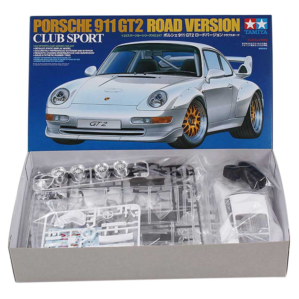 OHS Tamiya 24247 1/24 911 GT2 Road Version Club Sport Scale Assembly Car Model Building Kits oh
