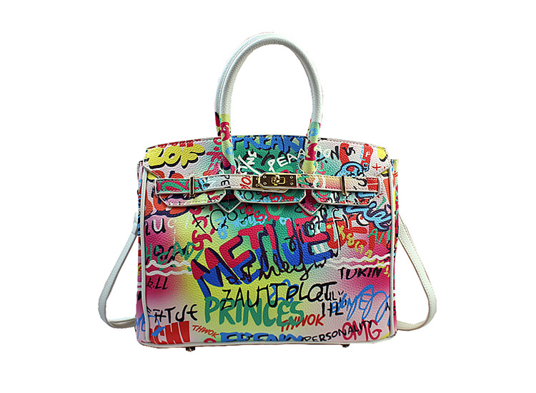 Women Hand painted graffiti PU Leather Handbags Shoulder Bags Shinny Brand Totes lady cossbody bags lady Fashion Shopper Totes