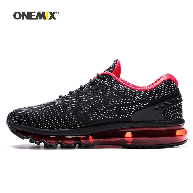ONEMIX Air Mulheres Tênis de corrida para Homens Malha Única Língua Sapato Atlético Formadores Preto Almofada de Calçados Esportivos Respirável Tênis 8