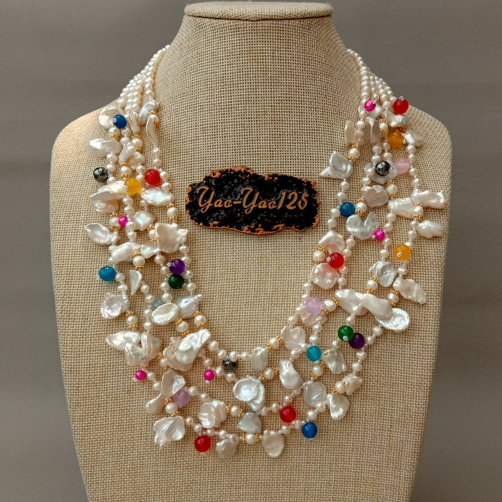 21 4 Strands Cultured White Keshi Pearl Multi Color Necklace21 4 Strands Cultured White Keshi Pearl Multi Color Necklace