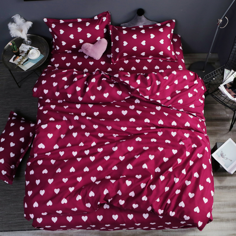 Home Bedding 4pcs Flat Sheet Set Red Heart Bed Linen Set