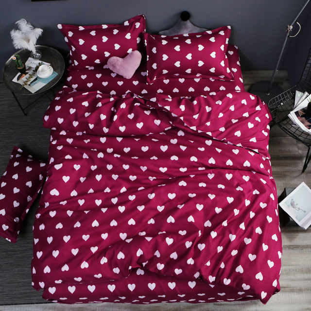 Home bedding 4pcs flat sheet set red heart bed linen set sheet pillowcase&duvet cover set Cute bird child bedclothes leaf cover