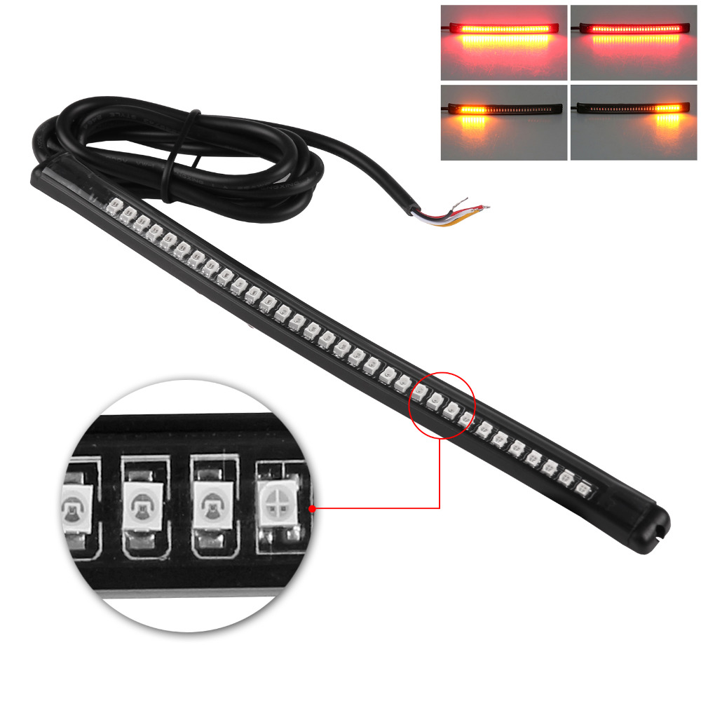Flexible led motorcycle brake lights turn signal light strip 32 universal flexible led motorcycle brake lights turn signal light strip 32 leds license plate light flashing tail mozeypictures Gallery