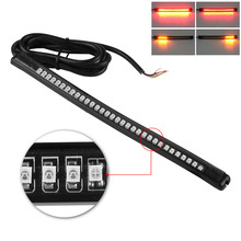Universal Flexible LED Motorcycle Brake Lights Turn Signal Light Strip 32 Leds License Plate Light Flashing Tail Stop Lights