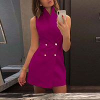 Sexy Women Bodycon Suit Vest Mini Dress Sleeveless High Neck Double Breasted Hot