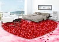 Custom photo 3d pvc flooring self adhesion wall sticker Romantic heart shaped red rose petals bedroom wallpaper for walls 3 d